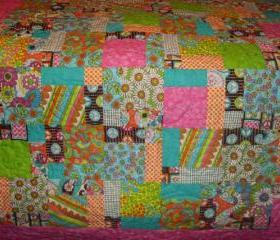 .Bright Patchwork Peace Bohemian Lap Quilt or Blanket