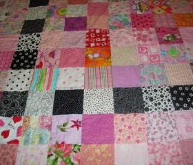 .Pink and Black Patchwork Baby Girl Crib or Lap Quilt