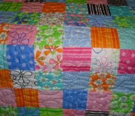 Bright Patchwork Baby, Crib or Lap Blanket Quilt